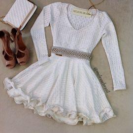 Vestido Boneca Camilla no Jacquard P. Manga Longa ( COR OFF WHITE)