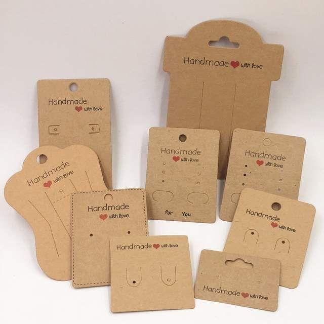Online-Shop 100 stücke Kraft Handgemachte Mit Liebe Schmuck Karten, Halskette/O…
