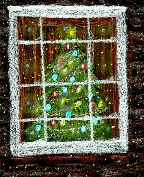 Chalk, Christmas window -- looking through the window into a house where something else is being celebrated, or Christmas is celebrated differently, decorations as visual art, our drawings as imitative