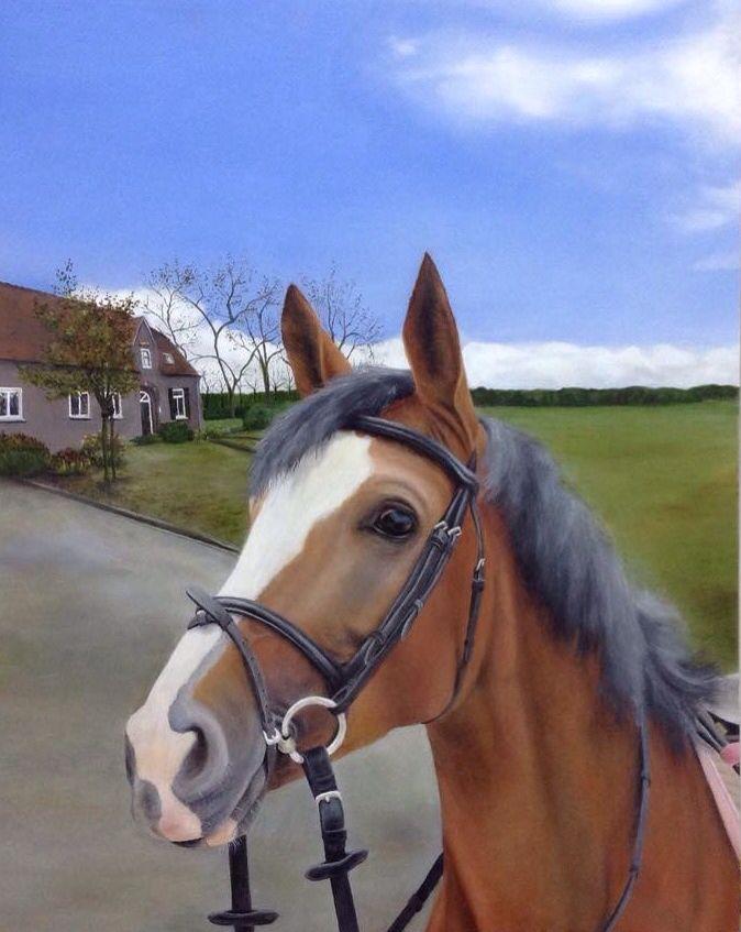 Paard van Marloes de Crom. Olieverfschilderij.