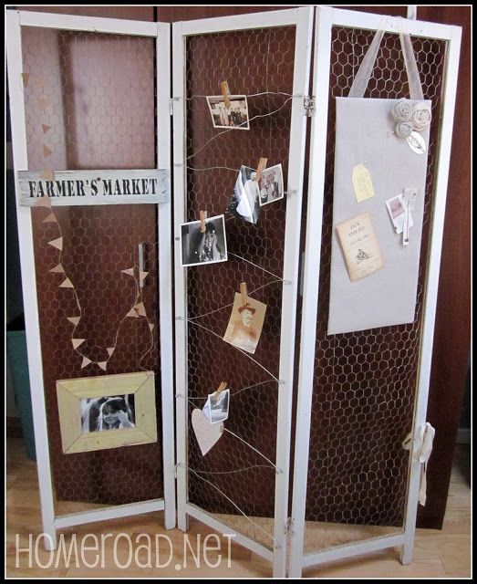 Revamp an old screen divider with chicken wire.
