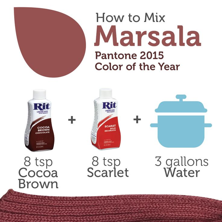 How to mix together Rit Dye to create the color Marsala, Pantone's 2015 color of the year. #DIY #fabricdye #ritdye
