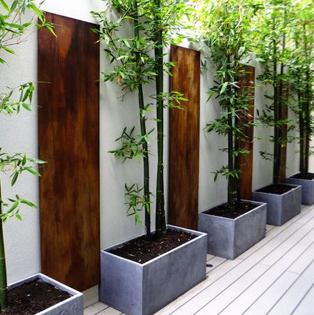 Trough planters aid in creating garden rooms.