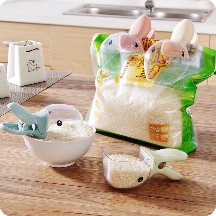 2 In 1 Multipurpose Duck Shape Plastic Shovel Handled Spoon Food Sealing Bag Clip