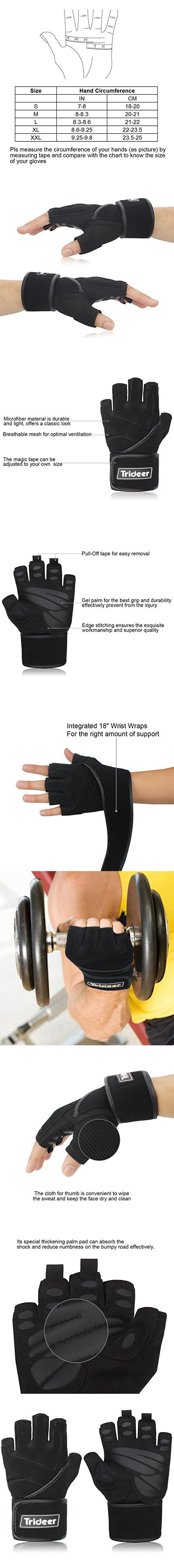 """Trideer Weight Lifting Gloves, Gym Workout Training Crossfit Fitness Bodybuilding Exercise Glove, Half Finger/Fingerless Microfiber&Silica Gel Grip with 18"""" Adjustable Strap, For Men&Women"""