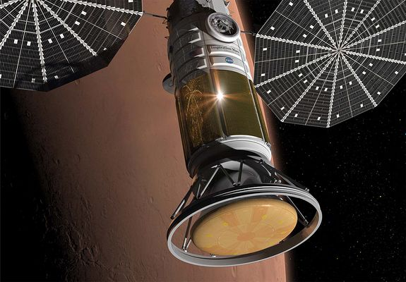 An artist's illustration of the manned spacecraft for the Inspiration Mars mission to send two astronauts on a Mars flyby mission in 2017-20...
