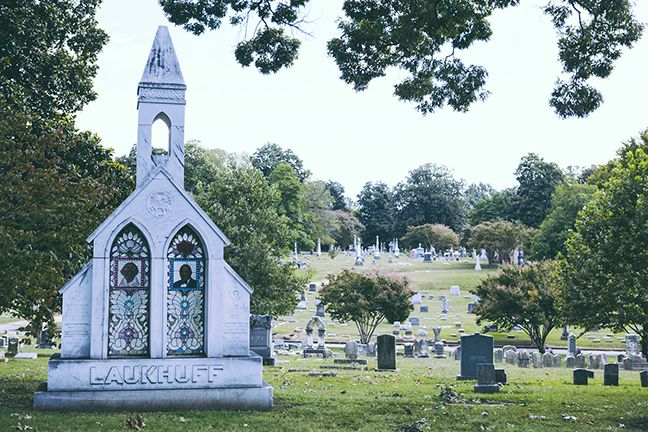 The Laukhuff headstone In Elmwood Cemetery cost approximately $250,000 made with marble imported from Italy and stained glass from a company the couple owned. Mrs. Laukhuff had her name and birthdate inscribed on the marble to be buried next to her husband, however, she moved and, after death, her body was buried elsewhere.