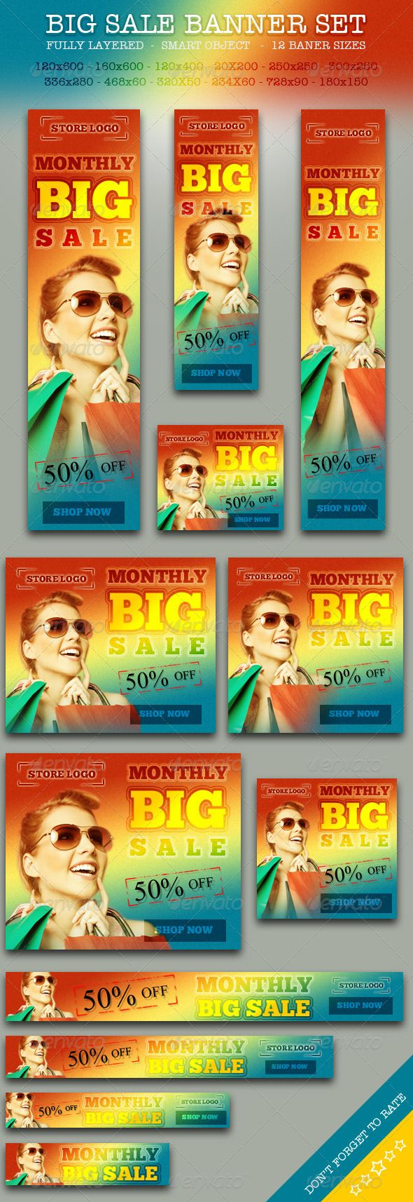 BIG Sale Promotion Online Store Banner ad Set #GraphicRiver BIG Sale Promotion Banner ad Set for Online Store. Support for Google Adword Desktop. Total 12 PSD files in pack. Dont forget to give five stars if you like this item. Total 12 Web Banner ad Sizes: skyscraper 120×600 skyscraper 160X600 small skyscraper 120X400 half banner 234X60 full banner 468X60 leaderboard 728X90 mobile leaderboard 320X50 square 336X280 square 300X250 square 250X250 small square 200X200 ...