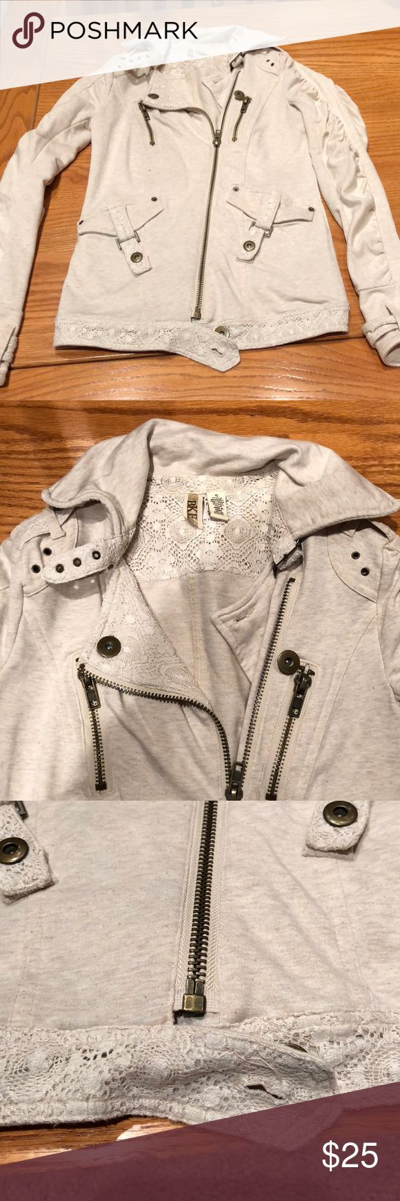 BKE Zip-up Cream zip up with lace detailing. Such a cute stylish piece for winter/fall! BKE Tops Sweatshirts & Hoodies