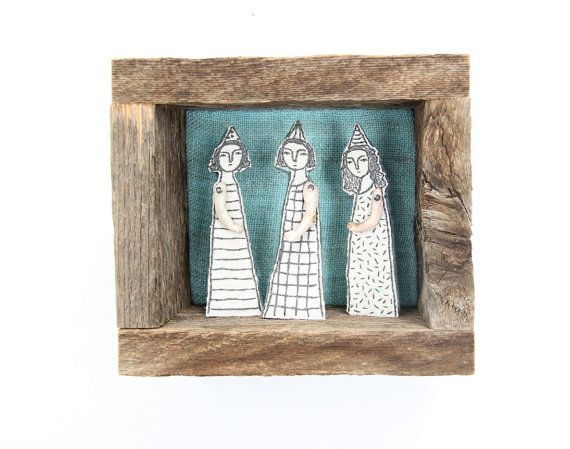 hand embroidery diorama- blackwork party textile art fiber art