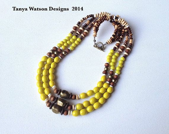 Handmade  glass beads 3 rows necklace with  by TanyaWatsonDesigns
