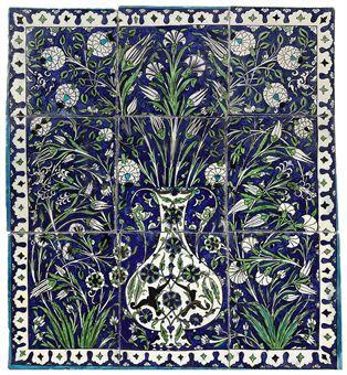 Damascus pottery tile panel, Ottoman Syria, 17th Century