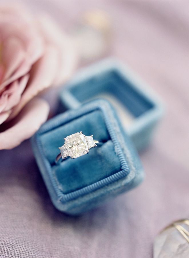 Stunning three-stone engagement ring: http://www.stylemepretty.com/2016/04/20/chic-garden-wedding-with-a-rich-moody-color-palette/ | Photography: Jose Villa - http://josevilla.com/