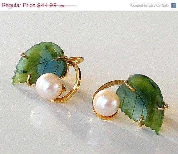 SALE Vintage Sorrento Gold Filled Earrings Genuine Pearls Jade 1/20 12K GF