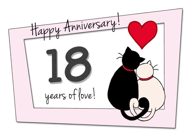 Happy 18th Wedding Anniversary Two Cats In Love Card 29th