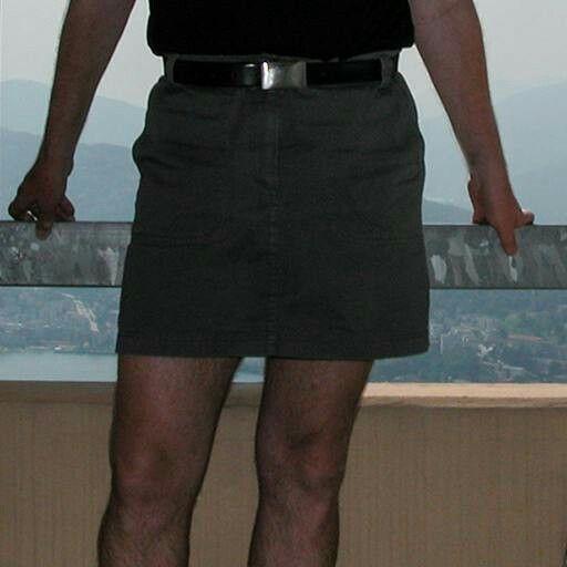 Man in smart looking Cargo Mini Skirt.