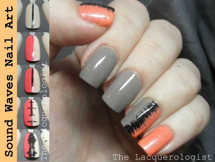 Pinned by www.SimpleNailArtTips.com TUTORIALS: NAIL ART DESIGN IDEAS -The Lacquerologist: Sound Waves Nail Art TUTORIAL!