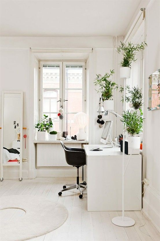 A bright and clean workspace. I love the plants. http://findanswerhere.com/homedecor: Plants Stands, Offices Spaces, Work Spaces, Workspaces, White Offices, Green Plants, Green Office, Home Offices, Indoor Plants