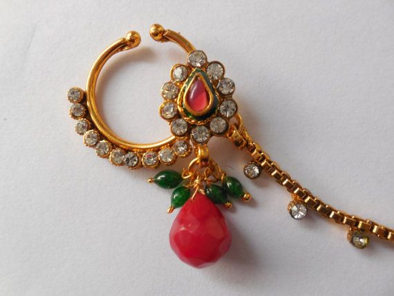 Beautiful! indian nose Nath for Non Pierced nose-Bridal Nose Ring with chain-Septum Ring-Decorated gemstone nosetril-nose jewellry