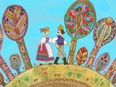"""Distinctive folk art abounded in the very """"Hungarian Folk Tales"""" such as The Talking Grape, the Smiling Apple, the Trinkling Peach (Magyar népmesék / Szóló szőlő, mosolygó alma, csengő barack)"""