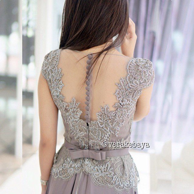 Silver Low back kebaya