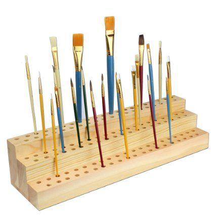 "Amazon.com: Wooden Paint Brushes Organize Holder 15 3/4""W x 4 1/4""D x 3 1/2""H"