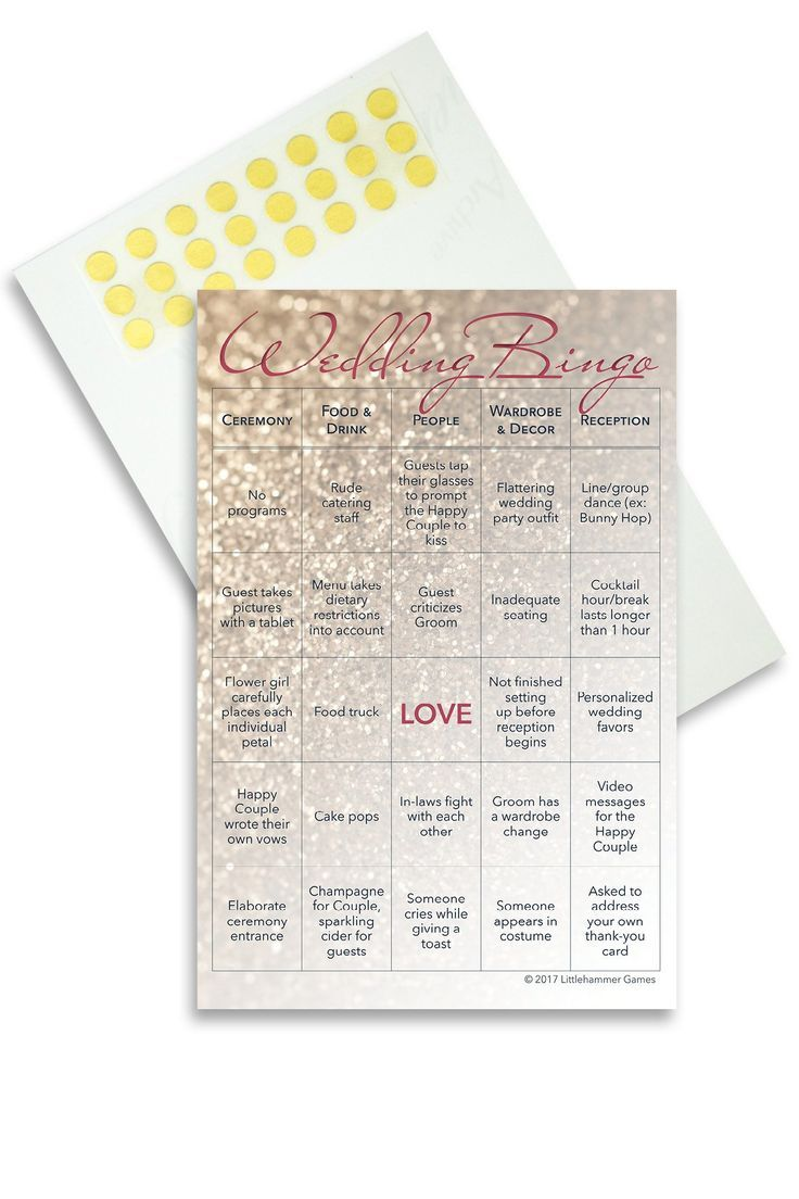 Winter wedding ideas: Entertain your guests with Wedding Bingo, the wedding reception bingo game. No need to worry about whether your guests who don't dance are having fun and thinking of leaving early when you have wedding reception games. They'll be completely entertained and paying attention to every detail of your big day while they play Wedding Bingo. This set contains 10 printed cards with gold dot stickers attached for marking the squares. LGBT version for weddings with 2 grooms