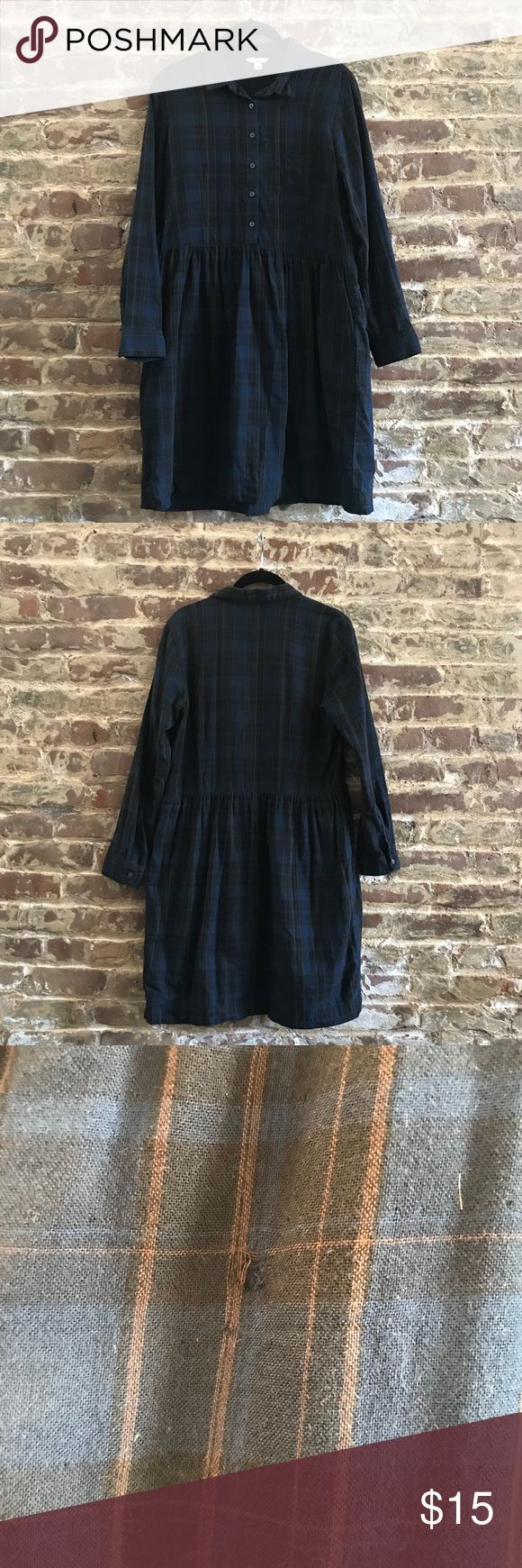 Gap Long Sleeve Plaid Dress Lightly worn dress, deep navy, black and brown plaid, long sleeve, button up collar and top detail, slightly flared skirt, fall right above the knee, has a slight worn spot on the back of the skirt (pictured) that is not noticeable unless up close GAP Dresses Midi