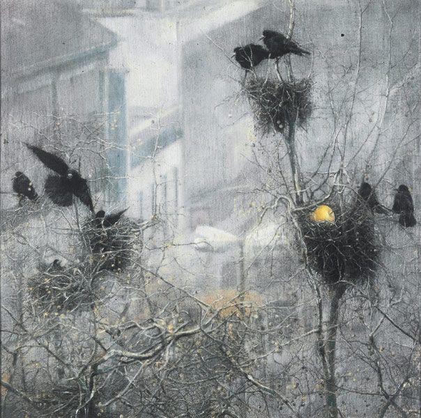 Francesco Balsamo   crows in foggy trees