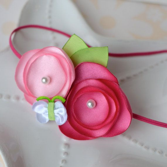 Bright Pink and Green Spring Flower Headband by MyLittlePixies, $11.00