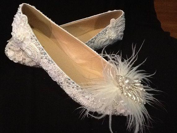 Wedding Shoes Bridal Flats Beaded Rhinestones by Elfinacreation, $95.00