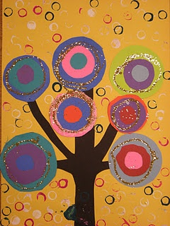 Could tie in with Kandinsky, DeLauney, warm/cool colors, love the printed background