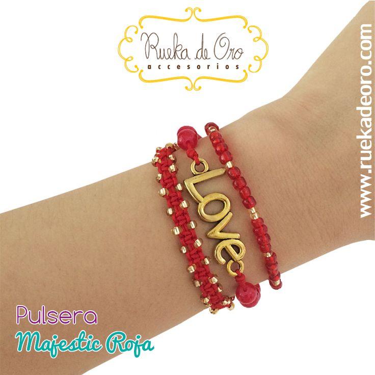 Pulsera Majestic Roja | Rueka de Oro accesorios www.ruekadeoro.com #accesorios #aretes #collares #pulseras #bolsos #cuellos #relojes #fashion #colombia #bogota