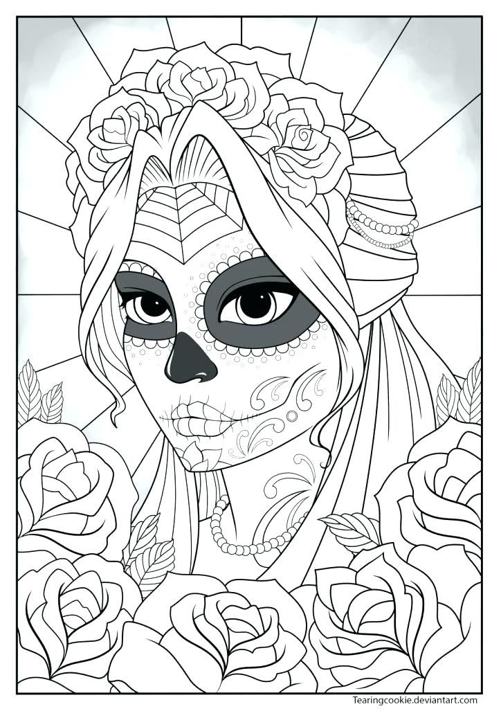 High Resolution Coloring Book Images Sugar Skull Pages Definition Girl  Colouring Page By Resol Skull Coloring Pages, Coloring Pages, Mandala Coloring  Pages
