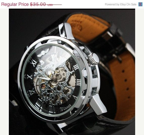 Ring In The Steampunk Decor To Pimp Up Your Home: Personalized Engraved Steampunk Mens Gear Watch, Silver