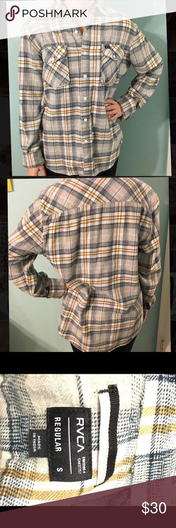 RCVA flannel size small! don't be fooled- this is actually a mens flannel but I think it looks great on girls, too! only worn once- perfect condition. originally purchased from Active Ride Shop for $65. size small, but will also fit a medium. RVCA Tops Button Down Shirts