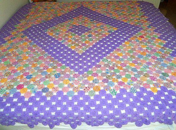 SALE Vintage Yo Yo Quilt Purple 90 x 102 by CapeCodLaurieDesigns, $199.99