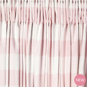 Oxford Check Pink Ready Made Curtains. Laura Ashley. Spare bed.