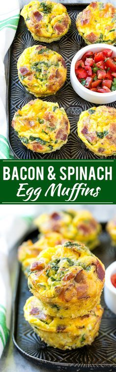 This recipe for breakfast egg muffins is an easy grab and go option for busy mornings. The protein packed egg muffins are loaded with bacon, cheddar cheese and spinach for maximum flavor! #ad