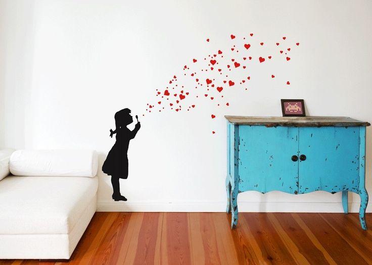 Heart Bubble Girl 2C   Wandtattoo Mädchen Herzchen Von Urban ART Berlin |  Wandtattoo VinylART |