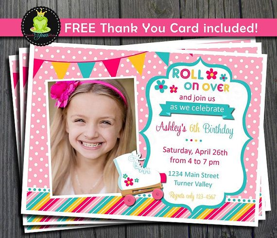 Roller Skating Invitation - FREE Thank You Card included on Etsy, $12.00