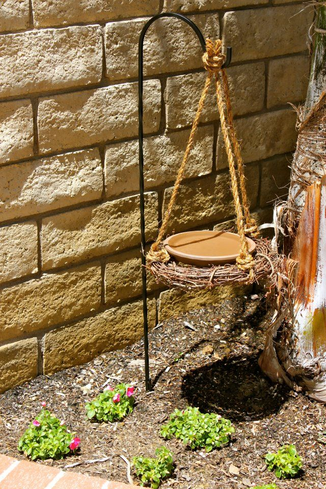 """My DIY bird bath ... sits next to our bird house so its our own little """"Birdie Bath and Breakfast"""""""