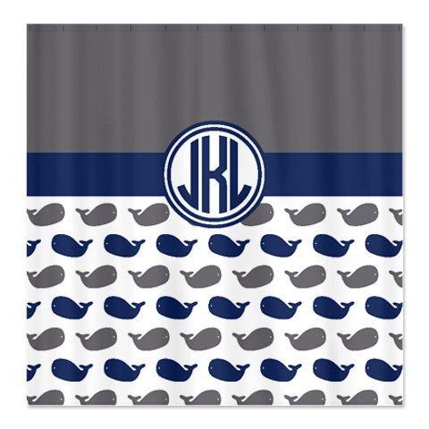 Whale Shower Curtain Preppy Circle Monogram Titanium Dark Blue