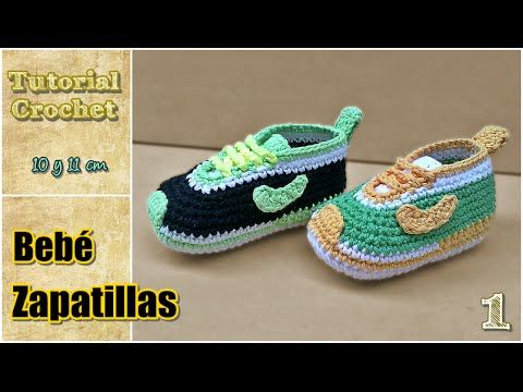Zapatitos para bebé a crochet, talle 10 y 11 cm - Paso a paso - 1de2. Link download: http://www.getlinkyoutube.com/watch?v=3t17QUe3r-o