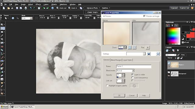 More editing with Corel Paint Shop Pro, soft newborn photo session