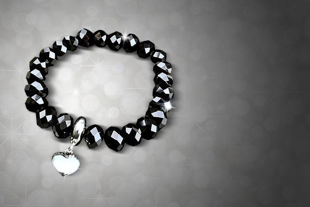 Black Crystal Silver Heart Bracelet