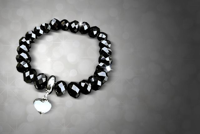 Black Crystal Silver Heart Bracelet