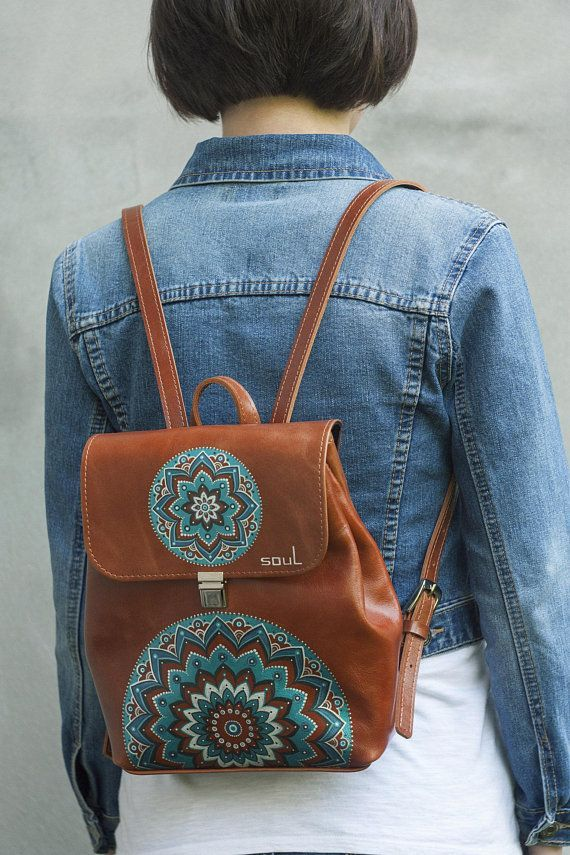 Leather brown backpack. Woman backpack. Small rucksack. City-style leather  backpack. 782139b117