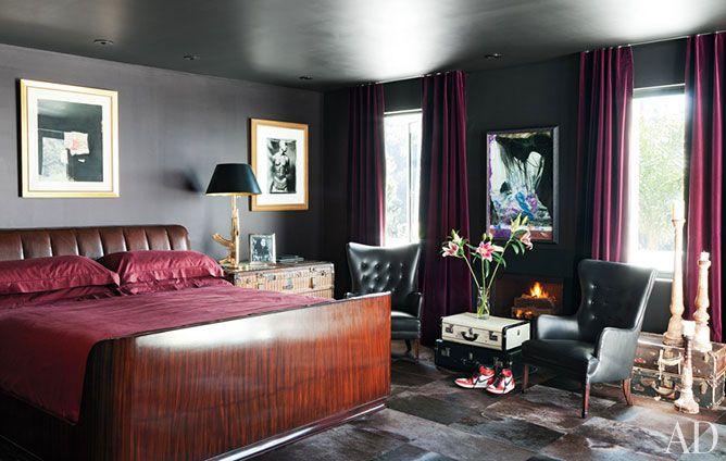 Adam Levine's 2012 home has a black bedroom.