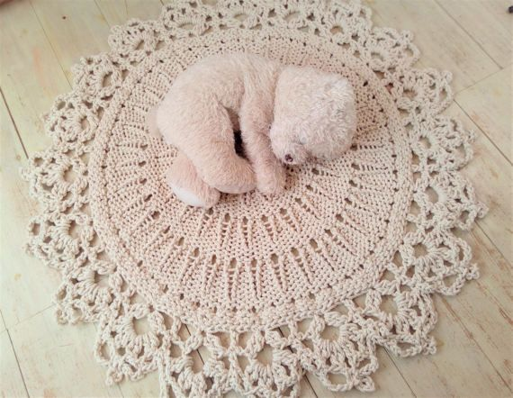Hand Knitted Rope Giant Doily Rug with crochet edge by KnitJoys